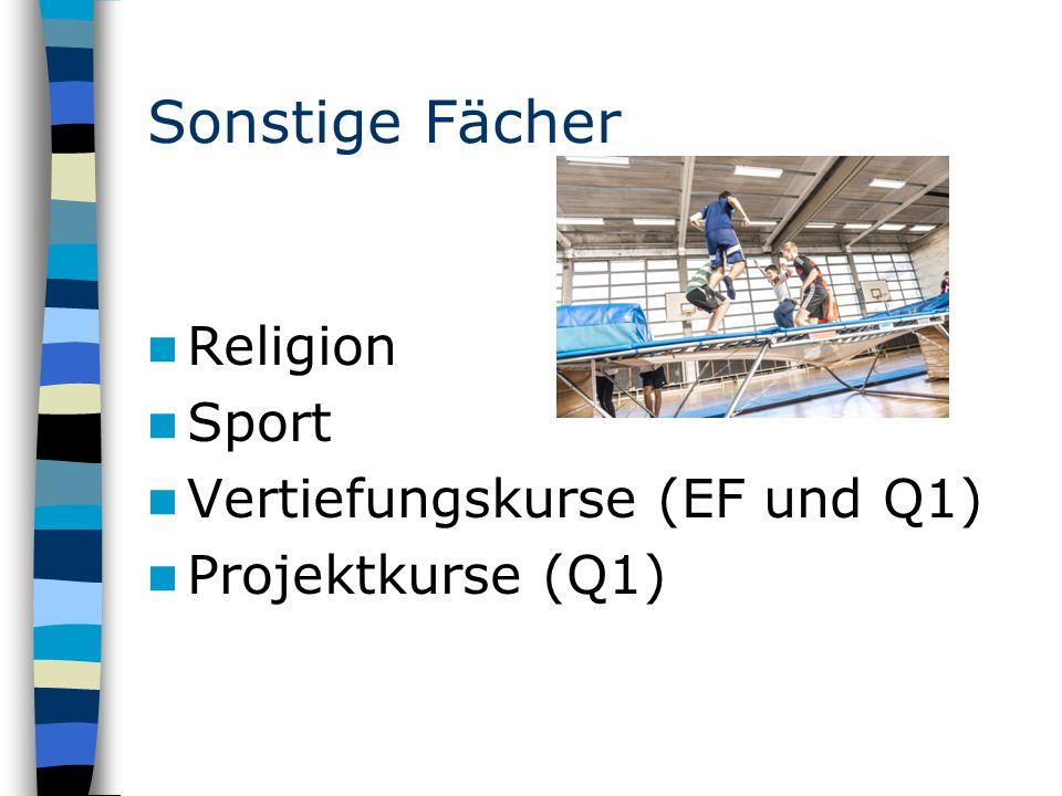 Sonstige Fächer Religion Sport Vertiefungskurse (EF und Q1) Projektkurse (Q1)