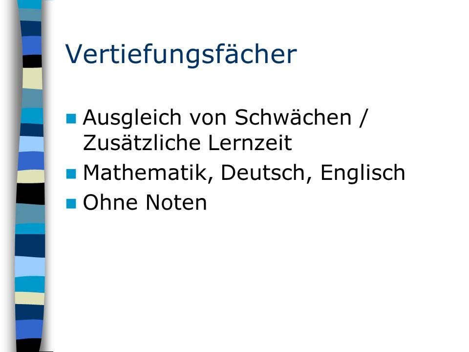Vertiefungsfächer Ausgleich von Schwächen / Zusätzliche Lernzeit Mathematik, Deutsch, Englisch Ohne Noten