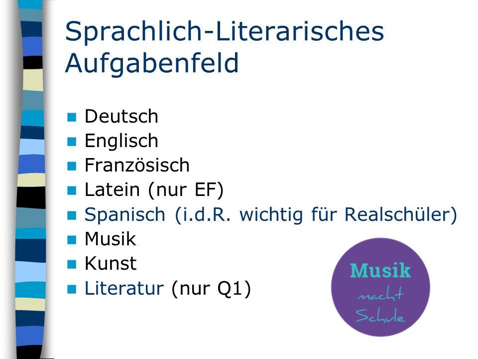 Sprachlich-Literarisches Aufgabenfeld Deutsch Englisch Französisch Latein (nur EF) Spanisch (i.d.R.