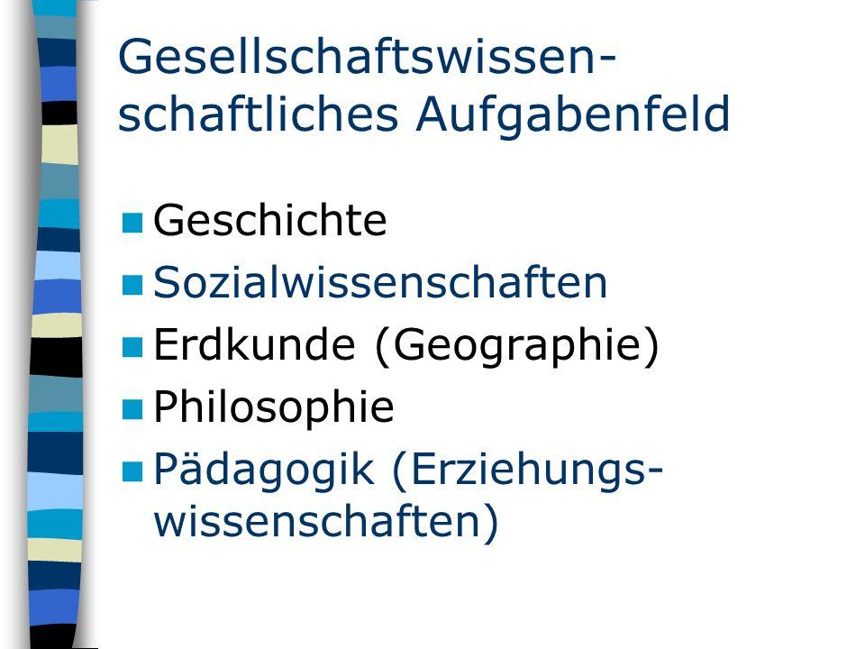 Gesellschaftswissen- schaftliches Aufgabenfeld Geschichte Sozialwissenschaften Erdkunde (Geographie) Philosophie Pädagogik (Erziehungs- wissenschaften)