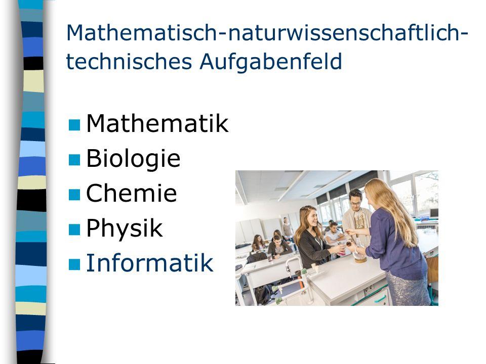 Mathematisch-naturwissenschaftlich- technisches Aufgabenfeld Mathematik Biologie Chemie Physik Informatik