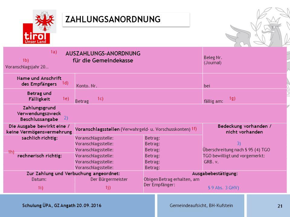 Schulung ÜPA, GZ Angath 20.09.2016Gemeindeaufsicht, BH–Kufstein 21 AUSZAHLUNGS-ANORDNUNG für die Gemeindekasse Voranschlagsjahr 20..