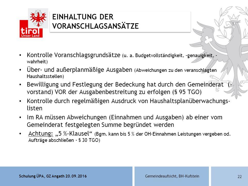 Schulung ÜPA, GZ Angath 20.09.2016Gemeindeaufsicht, BH–Kufstein 22 Kontrolle Voranschlagsgrundsätze (u.
