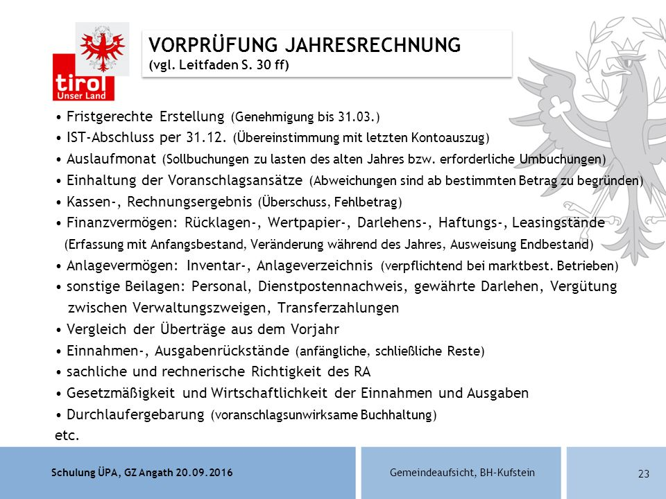 Schulung ÜPA, GZ Angath 20.09.2016Gemeindeaufsicht, BH–Kufstein 23 Fristgerechte Erstellung (Genehmigung bis 31.03.) IST-Abschluss per 31.12.
