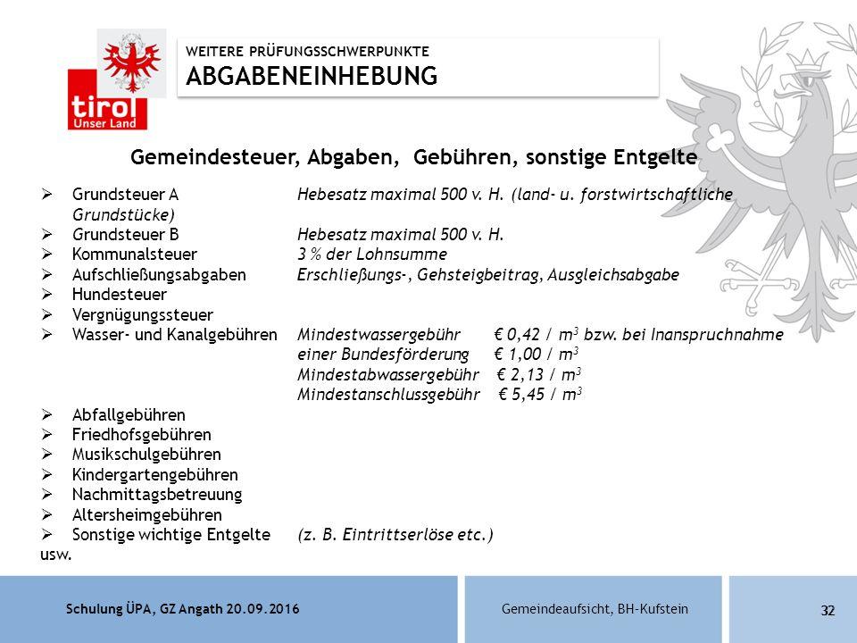 Schulung ÜPA, GZ Angath 20.09.2016Gemeindeaufsicht, BH–Kufstein 32 Gemeindesteuer, Abgaben, Gebühren, sonstige Entgelte  Grundsteuer A Hebesatz maximal 500 v.