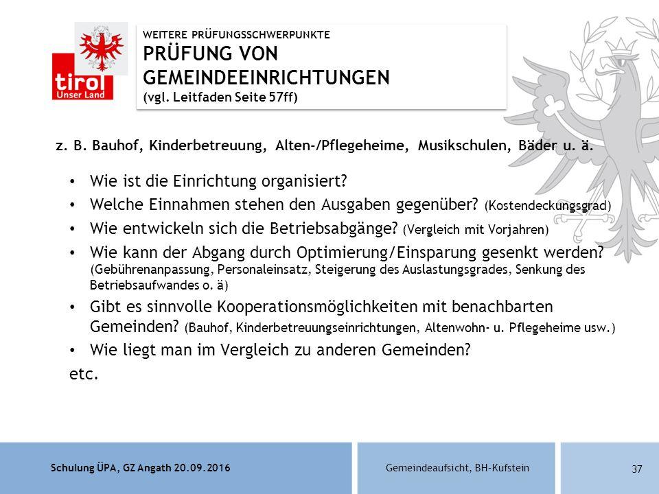 Schulung ÜPA, GZ Angath 20.09.2016Gemeindeaufsicht, BH–Kufstein 37 z.