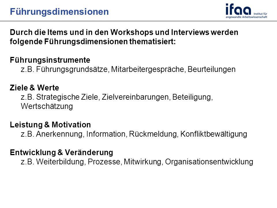Führungsdimensionen Durch die Items und in den Workshops und Interviews werden folgende Führungsdimensionen thematisiert: Führungsinstrumente z.B.