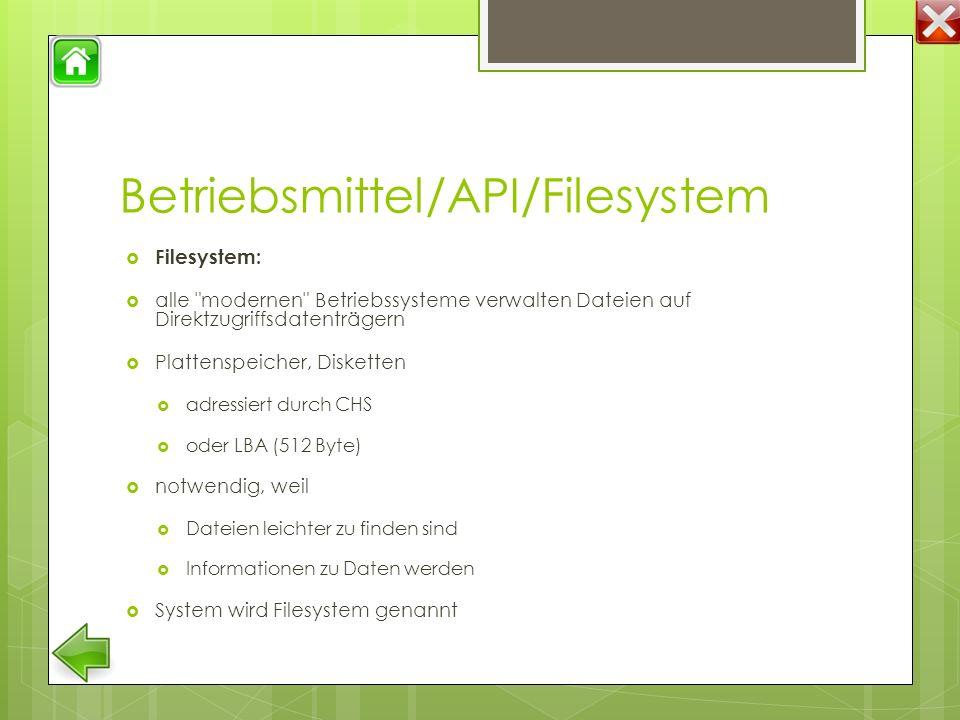 Betriebsmittel/API/Filesystem  Filesystem:  alle modernen Betriebssysteme verwalten Dateien auf Direktzugriffsdatenträgern  Plattenspeicher, Disketten  adressiert durch CHS  oder LBA (512 Byte)  notwendig, weil  Dateien leichter zu finden sind  Informationen zu Daten werden  System wird Filesystem genannt