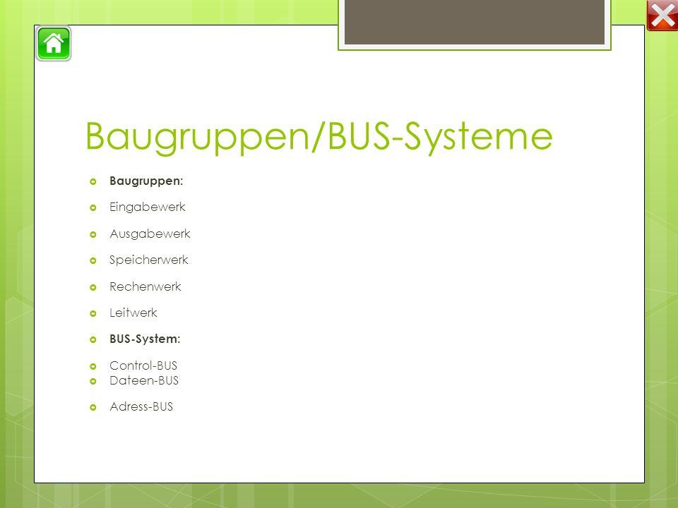 Baugruppen/BUS-Systeme  Baugruppen:  Eingabewerk  Ausgabewerk  Speicherwerk  Rechenwerk  Leitwerk  BUS-System:  Control-BUS  Dateen-BUS  Adress-BUS