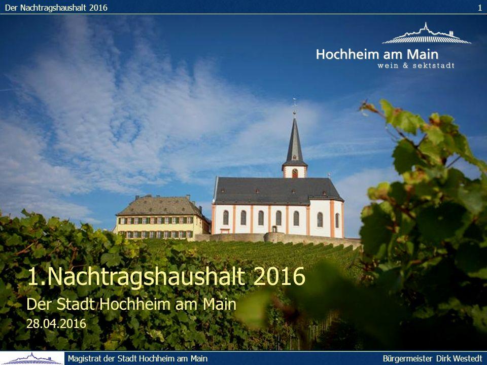 Der Nachtragshaushalt 20161 Bürgermeister Dirk WestedtMagistrat der Stadt Hochheim am Main 1.Nachtragshaushalt 2016 Der Stadt Hochheim am Main 28.04.2016