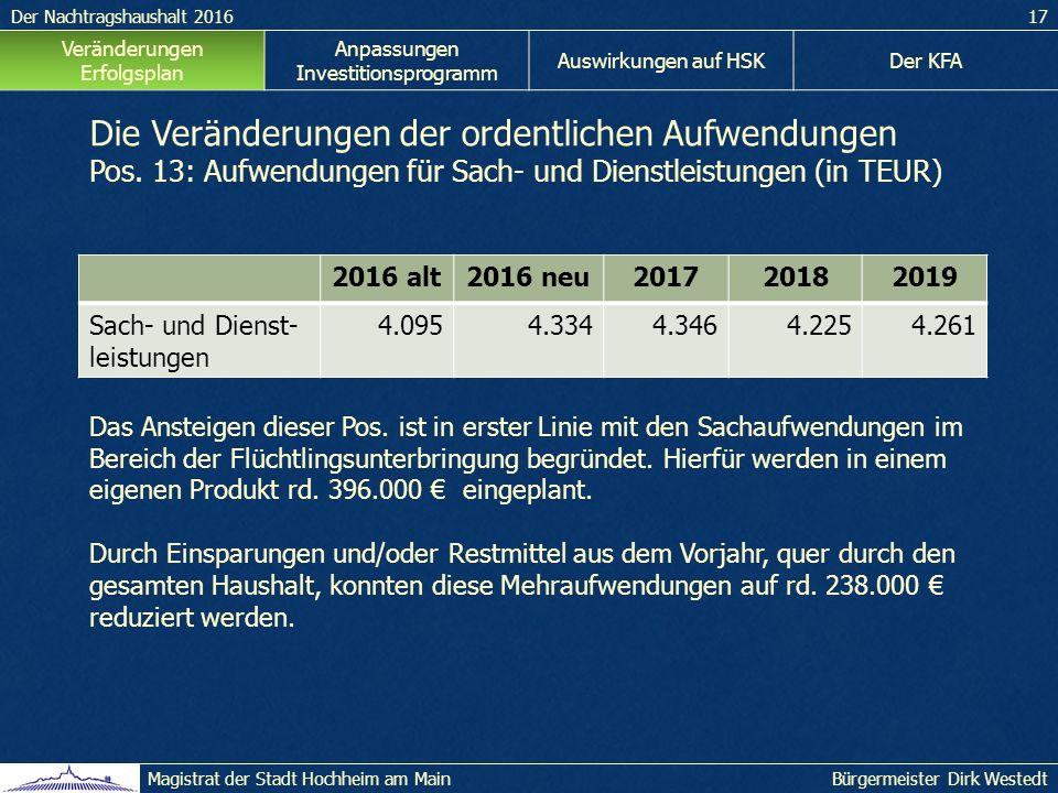 Der Nachtragshaushalt 201617 Bürgermeister Dirk WestedtMagistrat der Stadt Hochheim am Main Veränderungen Erfolgsplan Anpassungen Investitionsprogramm Auswirkungen auf HSKDer KFA Die Veränderungen der ordentlichen Aufwendungen Pos.