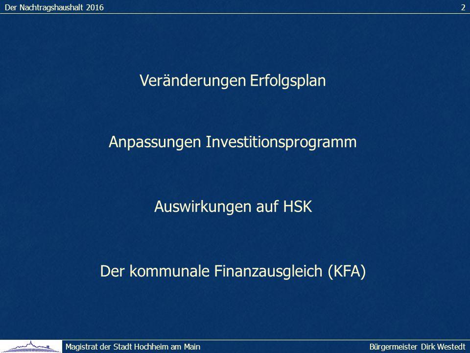 Der Nachtragshaushalt 20162 Bürgermeister Dirk WestedtMagistrat der Stadt Hochheim am Main Veränderungen Erfolgsplan Anpassungen Investitionsprogramm Auswirkungen auf HSK Der kommunale Finanzausgleich (KFA)