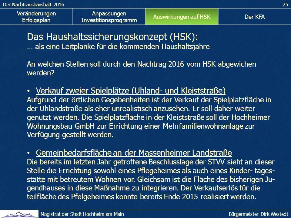 Der Nachtragshaushalt 201625 Bürgermeister Dirk WestedtMagistrat der Stadt Hochheim am Main Das Haushaltssicherungskonzept (HSK): … als eine Leitplanke für die kommenden Haushaltsjahre An welchen Stellen soll durch den Nachtrag 2016 vom HSK abgewichen werden.