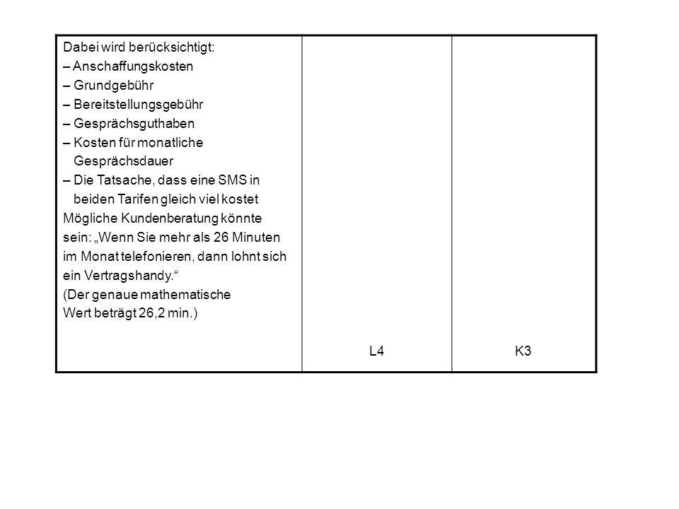 """Dabei wird berücksichtigt: – Anschaffungskosten – Grundgebühr – Bereitstellungsgebühr – Gesprächsguthaben – Kosten für monatliche Gesprächsdauer – Die Tatsache, dass eine SMS in beiden Tarifen gleich viel kostet Mögliche Kundenberatung könnte sein: """"Wenn Sie mehr als 26 Minuten im Monat telefonieren, dann lohnt sich ein Vertragshandy. (Der genaue mathematische Wert beträgt 26,2 min.) L4K3"""