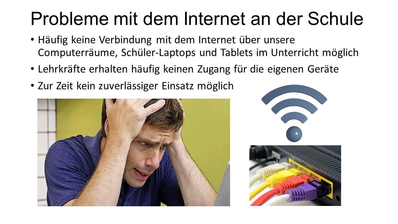 Probleme mit dem Internet an der Schule Häufig keine Verbindung mit dem Internet über unsere Computerräume, Schüler-Laptops und Tablets im Unterricht möglich Lehrkräfte erhalten häufig keinen Zugang für die eigenen Geräte Zur Zeit kein zuverlässiger Einsatz möglich