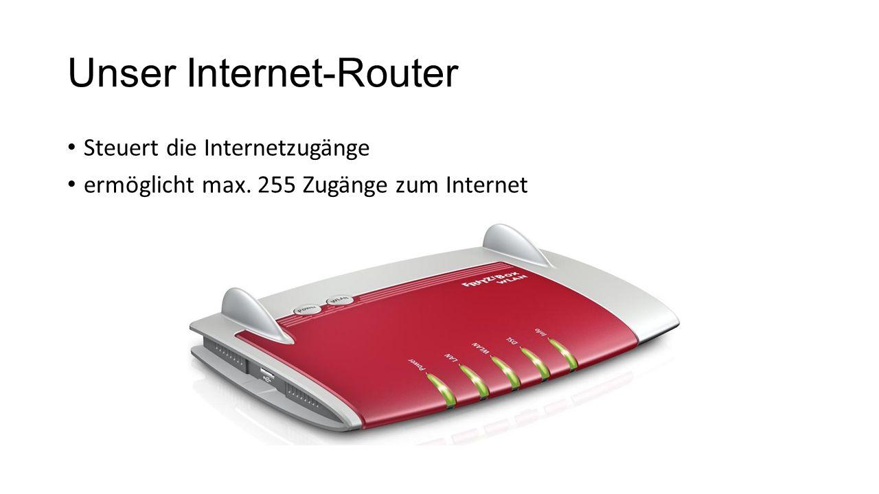 Unser Internet-Router Steuert die Internetzugänge ermöglicht max. 255 Zugänge zum Internet