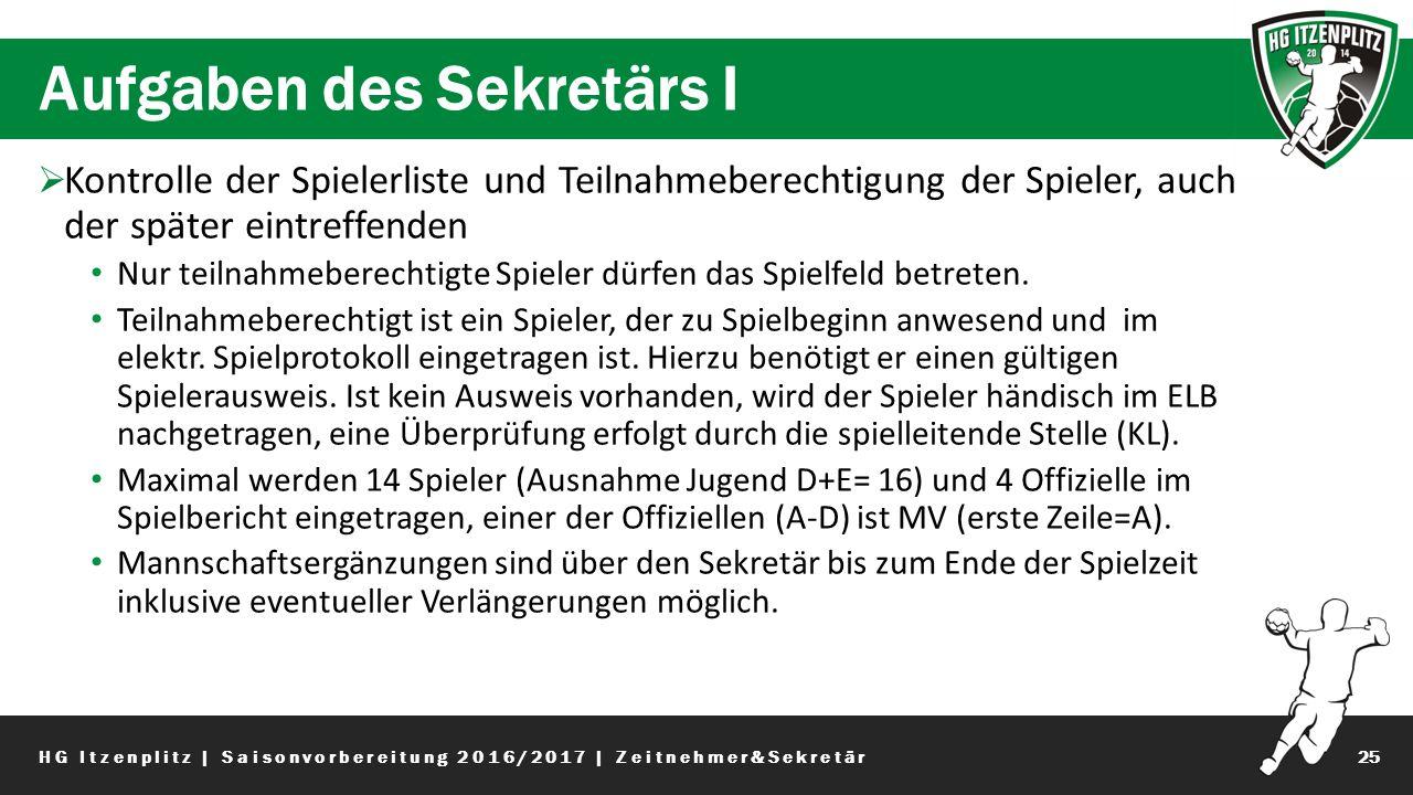 Aufgaben des Sekretärs I 25  Kontrolle der Spielerliste und Teilnahmeberechtigung der Spieler, auch der später eintreffenden Nur teilnahmeberechtigte Spieler dürfen das Spielfeld betreten.