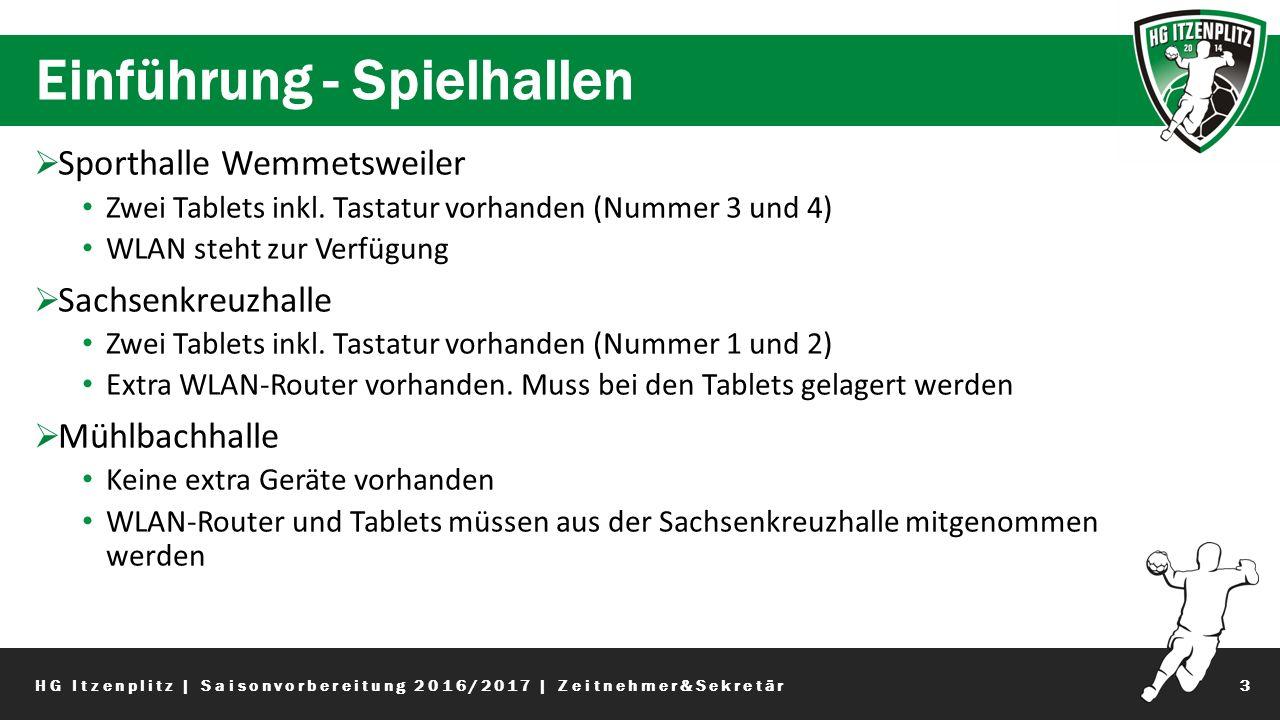 Einführung - Spielhallen 3  Sporthalle Wemmetsweiler Zwei Tablets inkl.