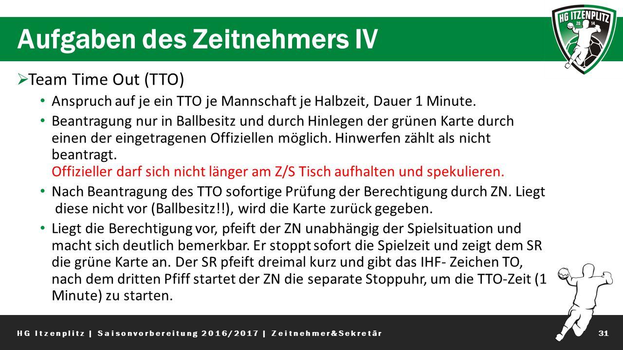 Aufgaben des Zeitnehmers IV 31  Team Time Out (TTO) Anspruch auf je ein TTO je Mannschaft je Halbzeit, Dauer 1 Minute.
