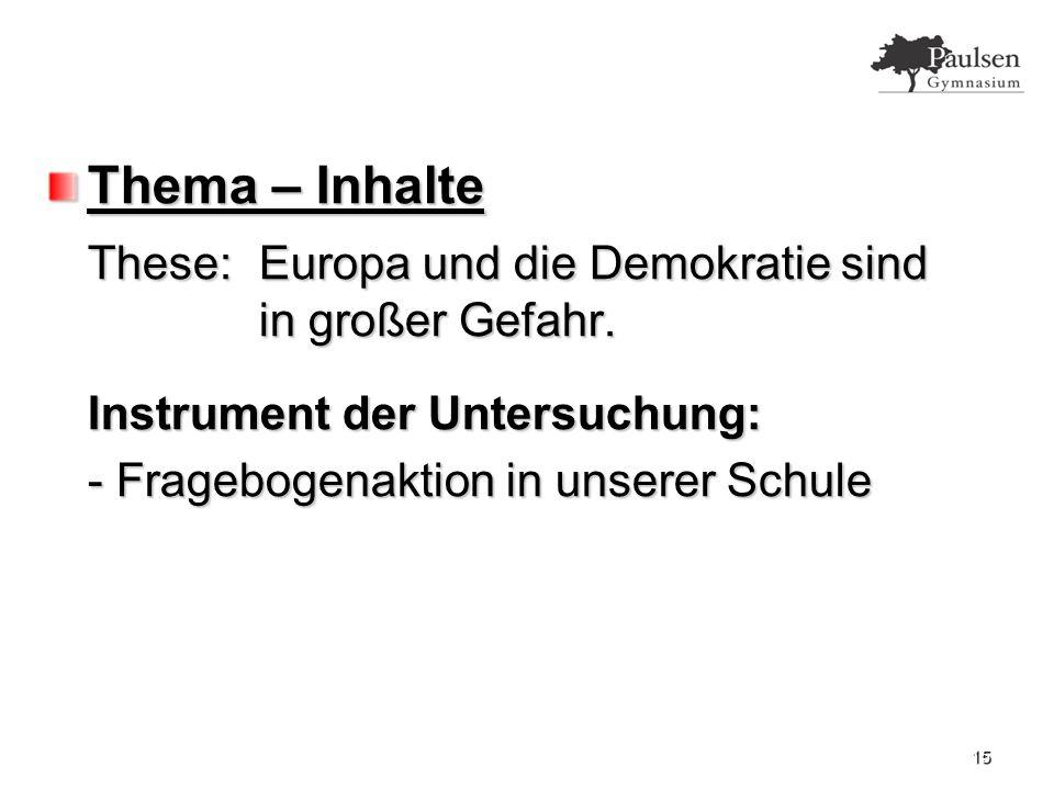 Thema – Inhalte These:Europa und die Demokratie sind in großer Gefahr.
