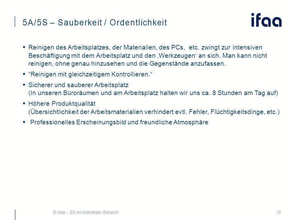 5A/5S – Sauberkeit / Ordentlichkeit © ifaa – 5S im indirekten Bereich10  Reinigen des Arbeitsplatzes, der Materialien, des PCs, etc.