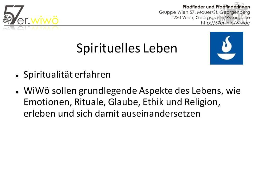 Spirituelles Leben Spiritualität erfahren WiWö sollen grundlegende Aspekte des Lebens, wie Emotionen, Rituale, Glaube, Ethik und Religion, erleben und sich damit auseinandersetzen