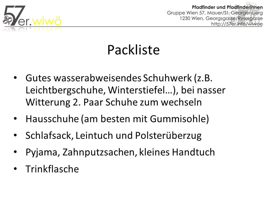 Packliste Gutes wasserabweisendes Schuhwerk (z.B.