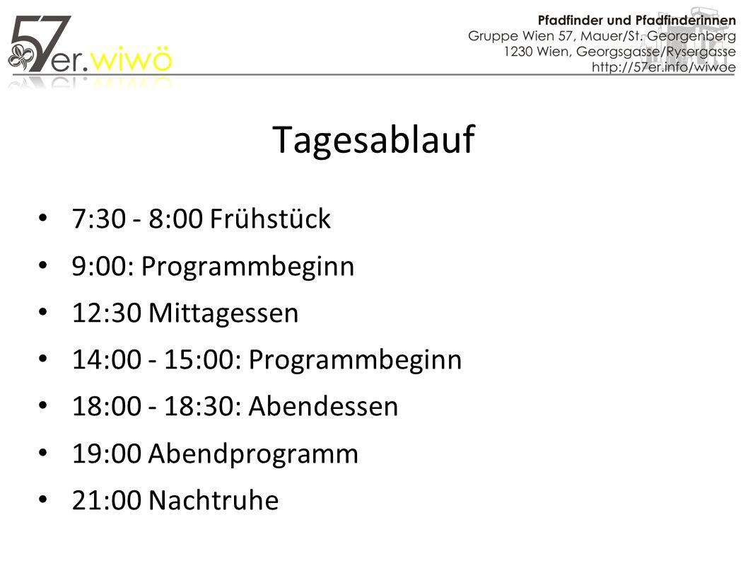 Tagesablauf 7:30 - 8:00 Frühstück 9:00: Programmbeginn 12:30 Mittagessen 14:00 - 15:00: Programmbeginn 18:00 - 18:30: Abendessen 19:00 Abendprogramm 21:00 Nachtruhe
