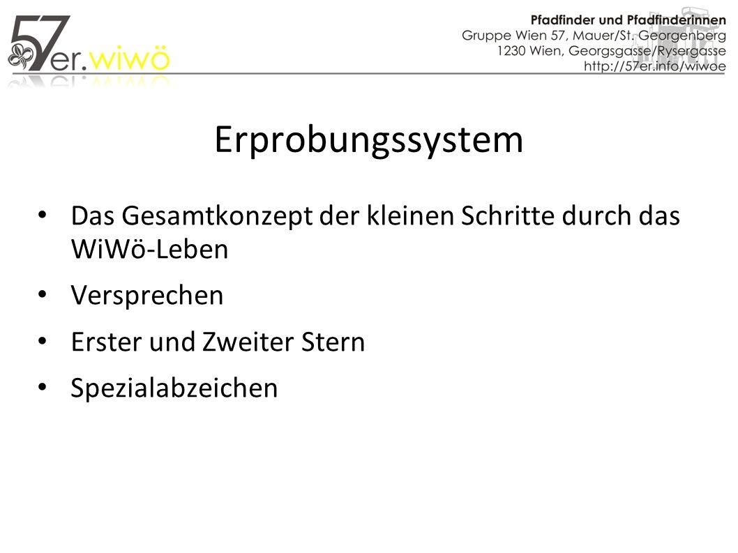 Erprobungssystem Das Gesamtkonzept der kleinen Schritte durch das WiWö-Leben Versprechen Erster und Zweiter Stern Spezialabzeichen