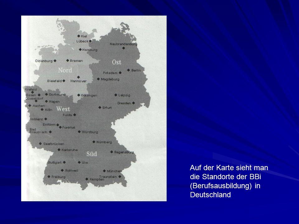 Auf der Karte sieht man die Standorte der BBi (Berufsausbildung) in Deutschland