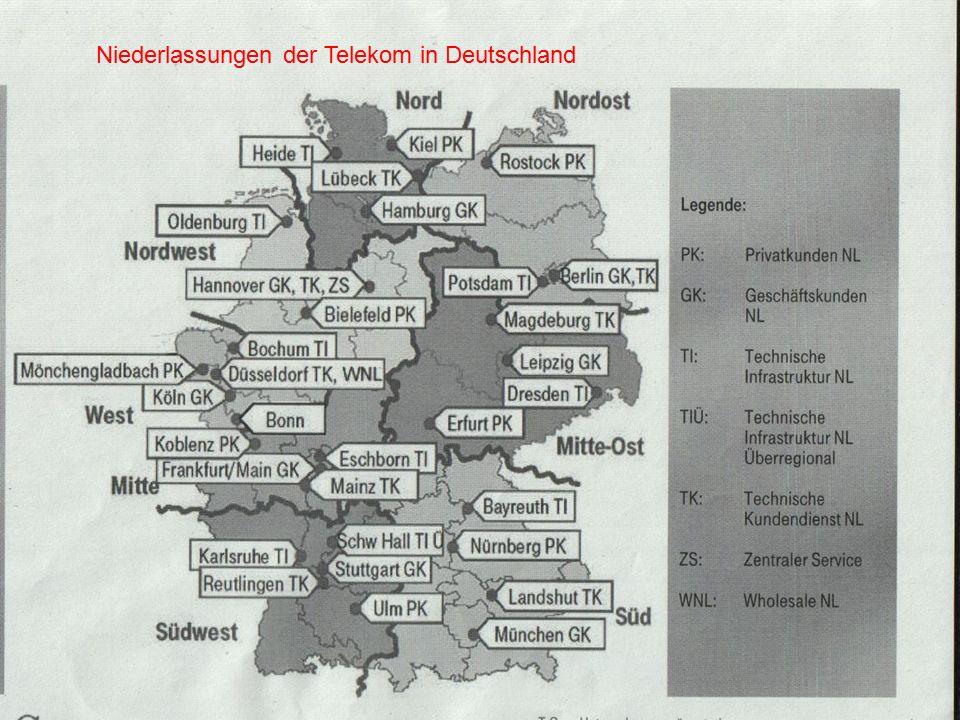Niederlassungen der Telekom in Deutschland
