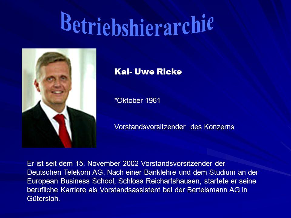Kai- Uwe Ricke *Oktober 1961 Vorstandsvorsitzender des Konzerns Er ist seit dem 15.
