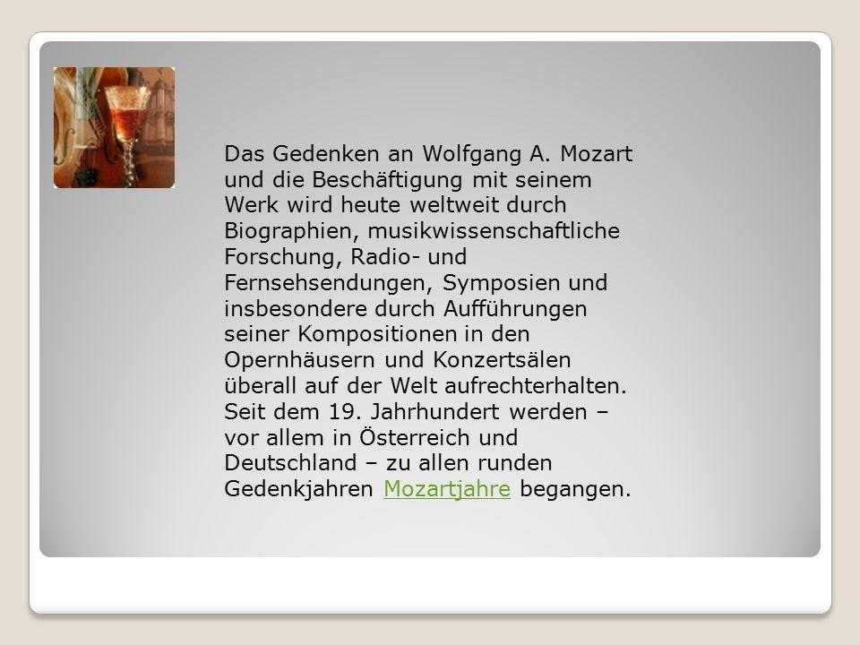 Das Gedenken an Wolfgang A.