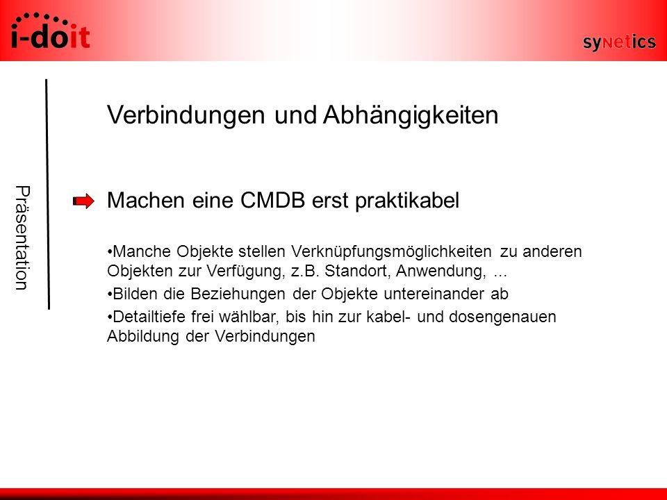 Präsentation Verbindungen und Abhängigkeiten Machen eine CMDB erst praktikabel Manche Objekte stellen Verknüpfungsmöglichkeiten zu anderen Objekten zur Verfügung, z.B.