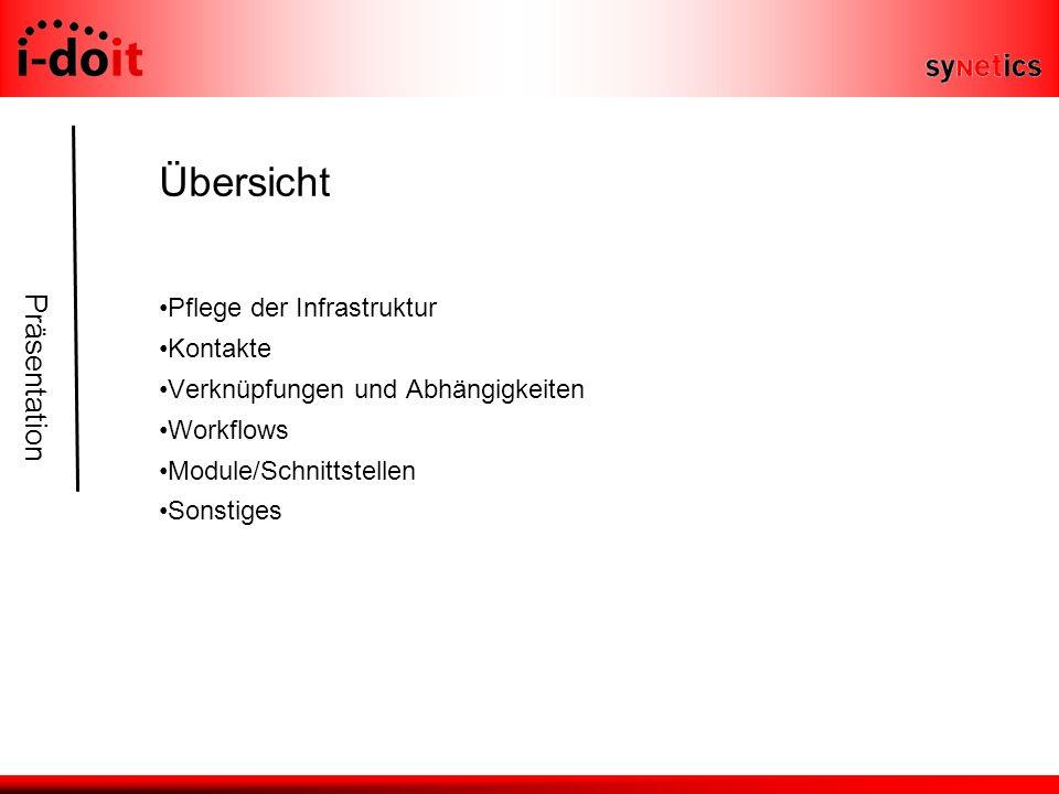 Präsentation Übersicht Pflege der Infrastruktur Kontakte Verknüpfungen und Abhängigkeiten Workflows Module/Schnittstellen Sonstiges