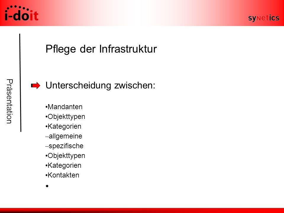 Präsentation Pflege der Infrastruktur Unterscheidung zwischen: Mandanten Objekttypen Kategorien – allgemeine – spezifische Objekttypen Kategorien Kontakten