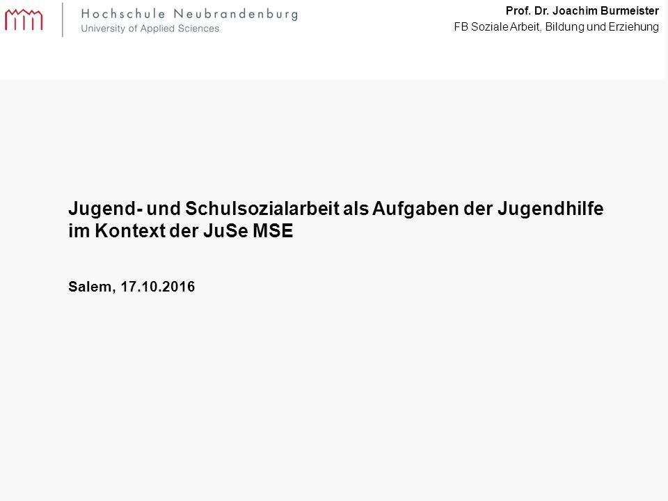 1 Jugend- und Schulsozialarbeit als Aufgaben der Jugendhilfe im Kontext der JuSe MSE Salem, 17.10.2016 Prof.
