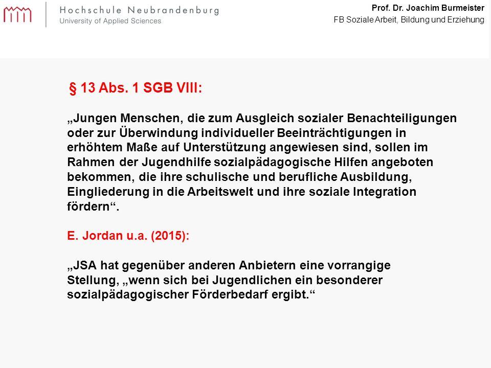 9 Prof. Dr. Joachim Burmeister FB Soziale Arbeit, Bildung und Erziehung § 13 Abs.