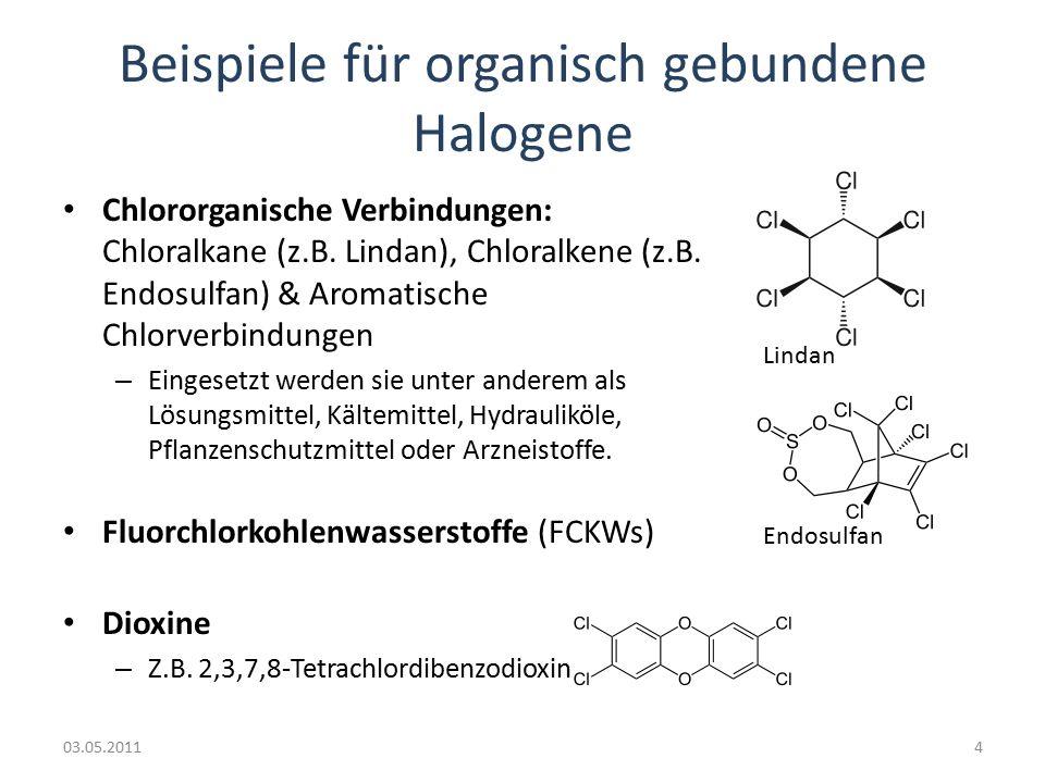 Beispiele für organisch gebundene Halogene Chlororganische Verbindungen: Chloralkane (z.B.