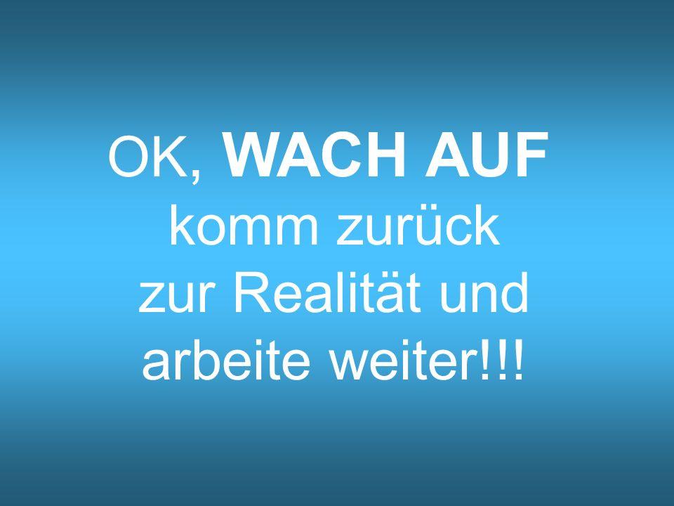 OK, WACH AUF komm zurück zur Realität und arbeite weiter!!!
