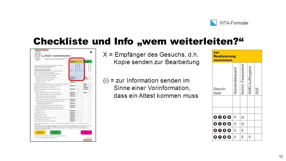 """12 WTA-Formular Checkliste und Info """"wem weiterleiten X = Empfänger des Gesuchs, d.h."""