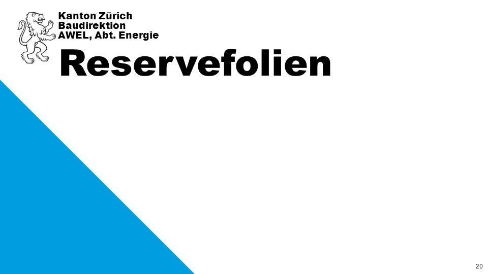 20 Kanton Zürich Baudirektion AWEL, Abt. Energie Reservefolien