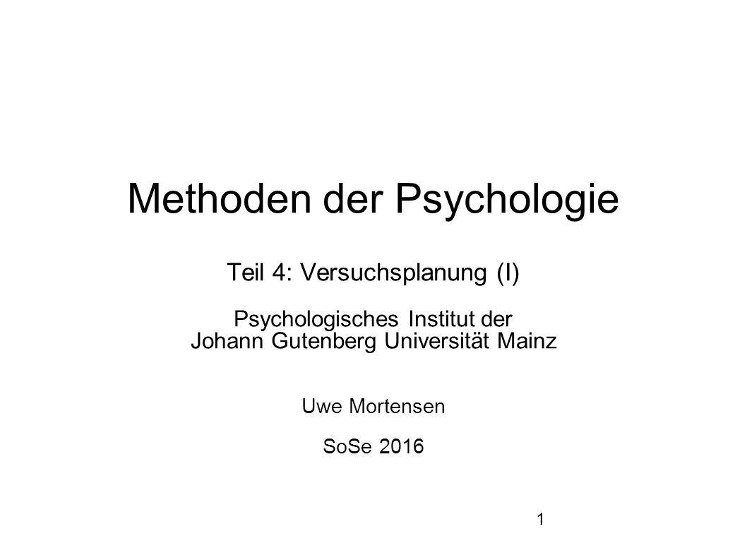 1 Methoden der Psychologie Teil 4: Versuchsplanung (I) Psychologisches Institut der Johann Gutenberg Universität Mainz Uwe Mortensen SoSe 2016
