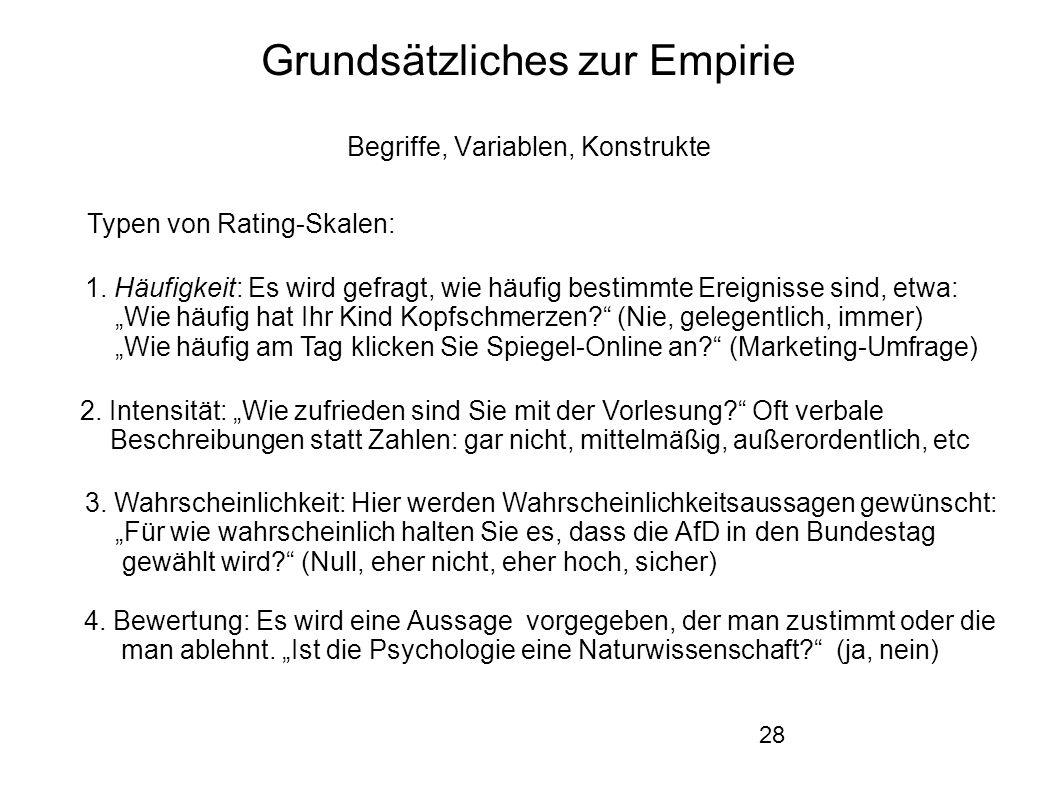 28 Grundsätzliches zur Empirie Begriffe, Variablen, Konstrukte Typen von Rating-Skalen: 1.