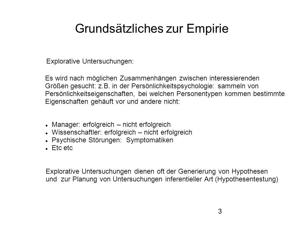 3 Grundsätzliches zur Empirie Explorative Untersuchungen: Es wird nach möglichen Zusammenhängen zwischen interessierenden Größen gesucht: z.B.