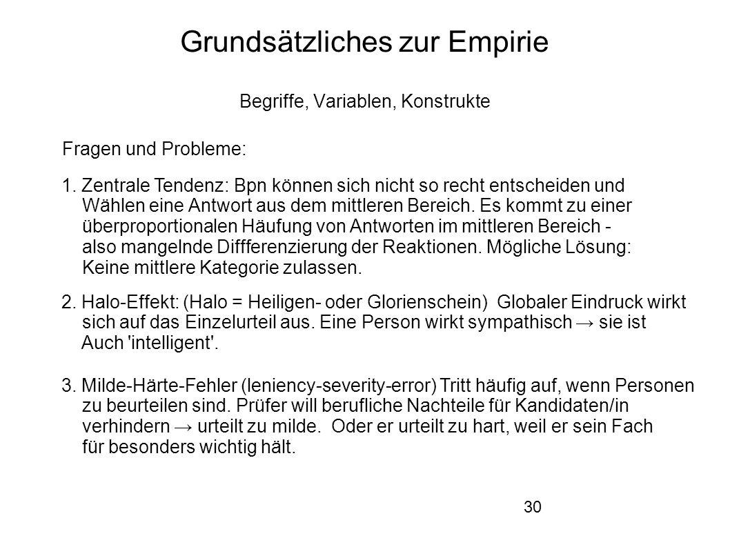 30 Grundsätzliches zur Empirie Begriffe, Variablen, Konstrukte Fragen und Probleme: 1.