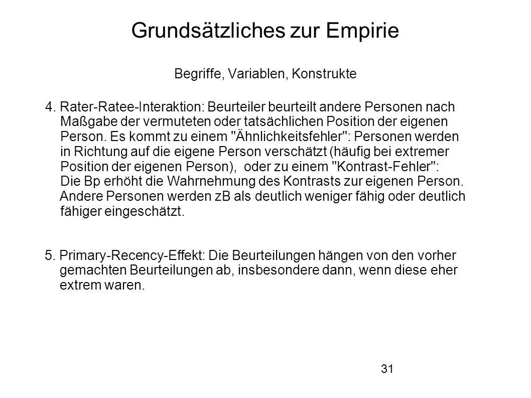 31 Grundsätzliches zur Empirie Begriffe, Variablen, Konstrukte 4.