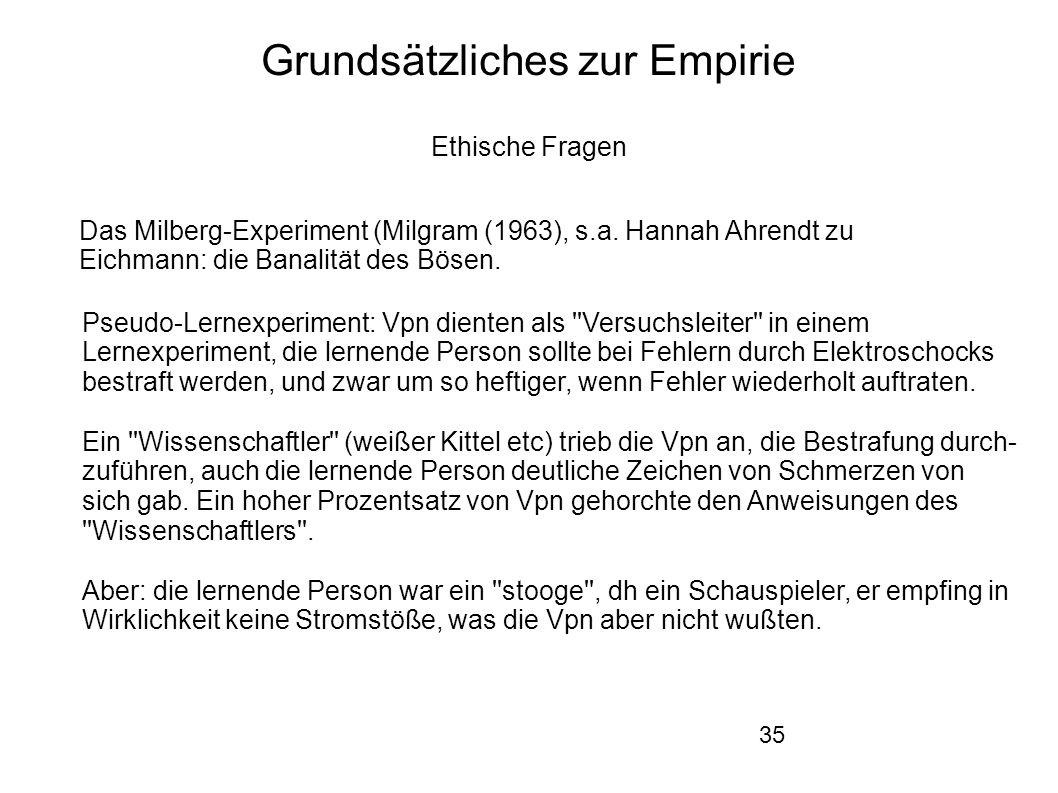 35 Grundsätzliches zur Empirie Ethische Fragen Das Milberg-Experiment (Milgram (1963), s.a.