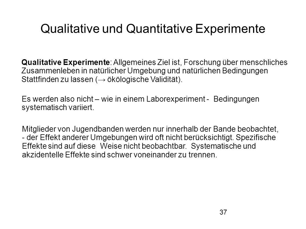 37 Qualitative und Quantitative Experimente Qualitative Experimente: Allgemeines Ziel ist, Forschung über menschliches Zusammenleben in natürlicher Umgebung und natürlichen Bedingungen Stattfinden zu lassen (→ ökölogische Validität).