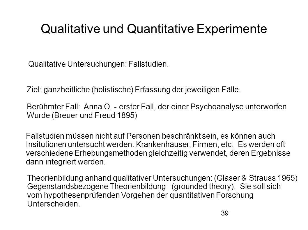39 Qualitative und Quantitative Experimente Qualitative Untersuchungen: Fallstudien.